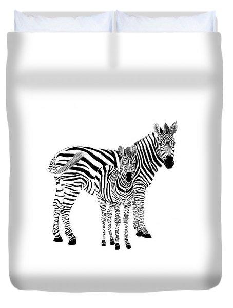 Stylized Zebra With Child Duvet Cover
