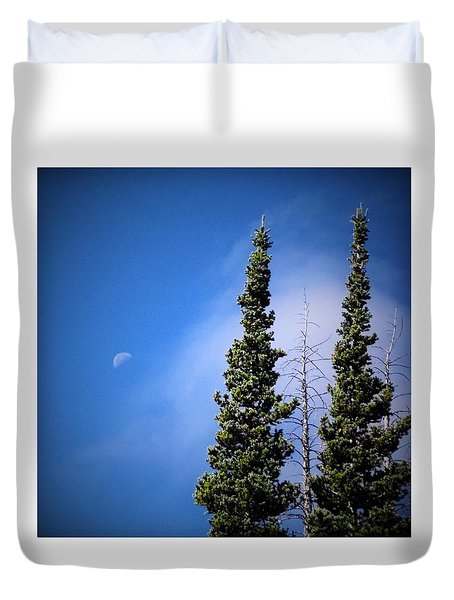 Subalpine Fir With Moon Duvet Cover