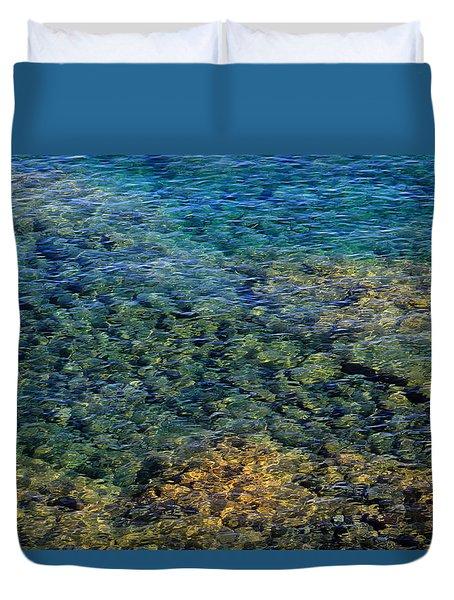 Submerged Rocks At Lake Superior Duvet Cover