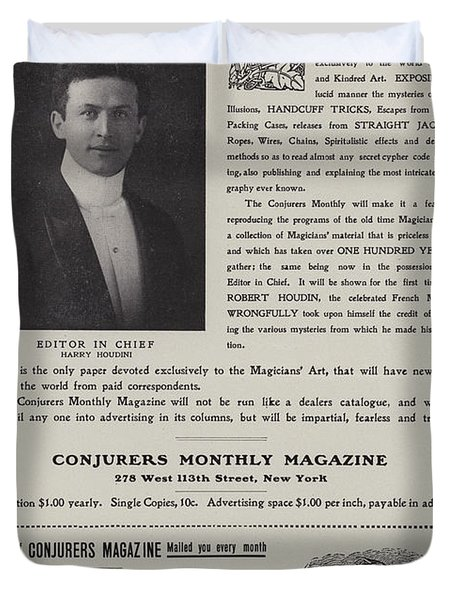 Subscription Form For Conjurers Monthly Magazine, Editor In Chief Harry Houdini, Circa 1906 Duvet Cover
