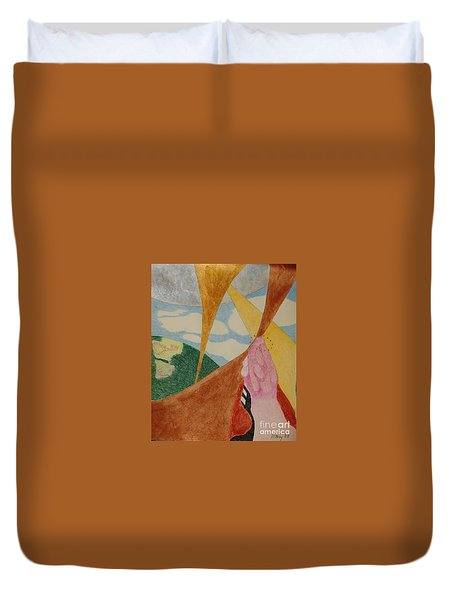 Duvet Cover featuring the drawing Subteranian  by Rod Ismay