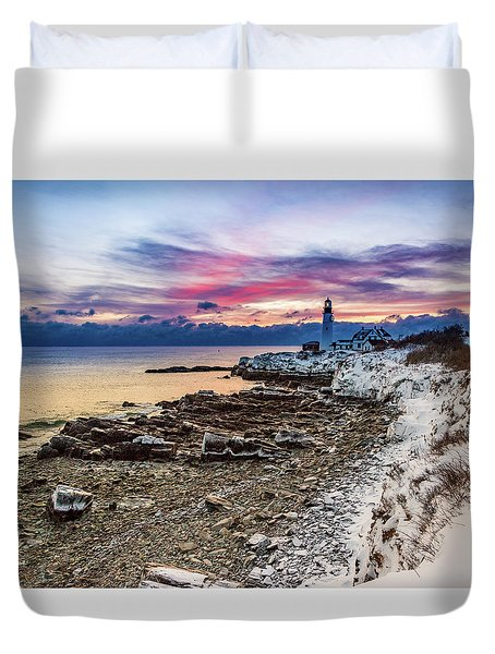 Subtle Sunrise At Portland Head Light Duvet Cover