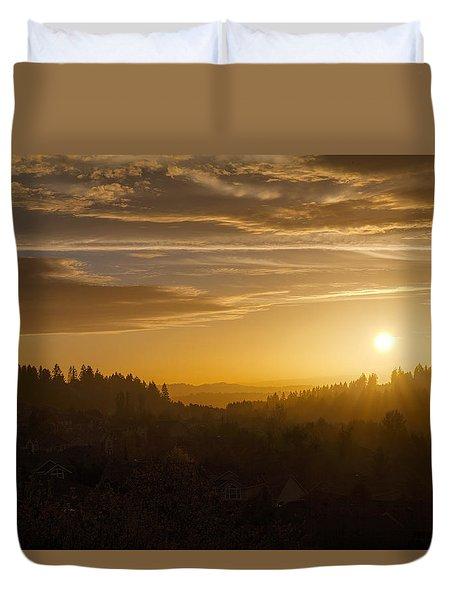 Suburban Golden Sunset Duvet Cover by David Gn