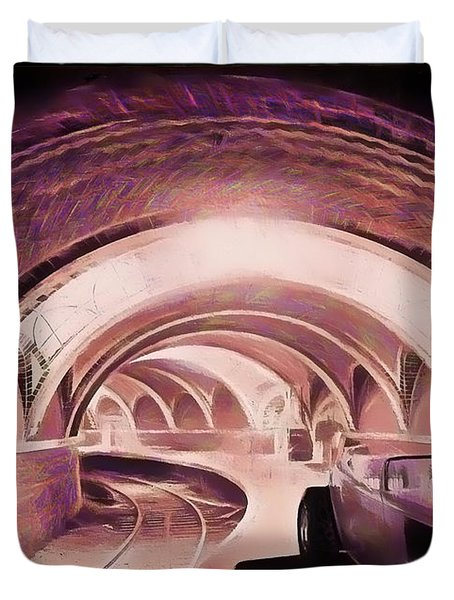 Duvet Cover featuring the photograph Subway Racer by Michael Cleere