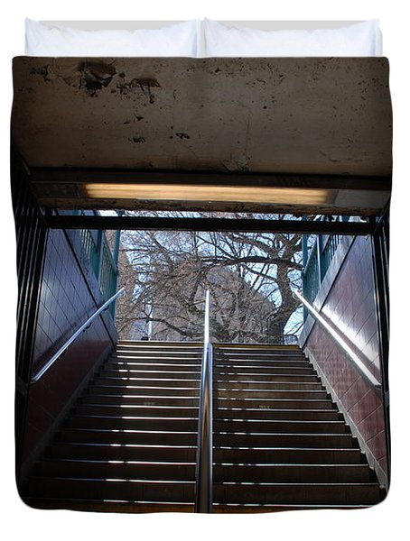 Duvet Cover featuring the photograph Subway Stairs To Freedom by Rob Hans
