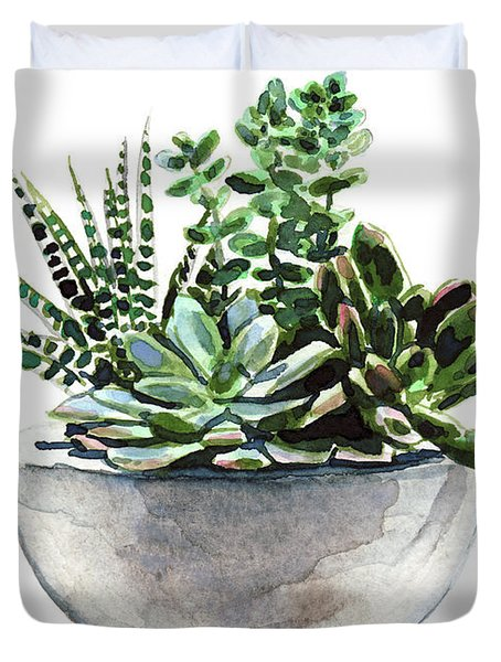 Succulent Arrangement In Modern Planter Duvet Cover