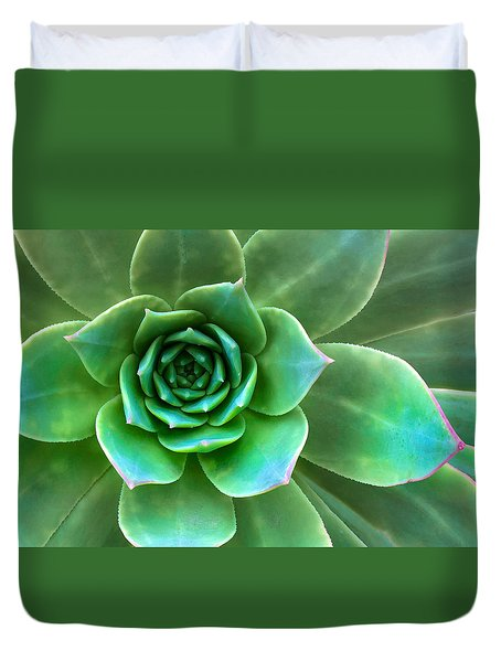 Duvet Cover featuring the photograph Succulent Closeup by Ram Vasudev