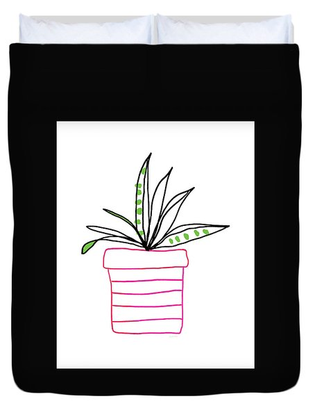 Duvet Cover featuring the mixed media Succulent In A Pink Pot- Art By Linda Woods by Linda Woods
