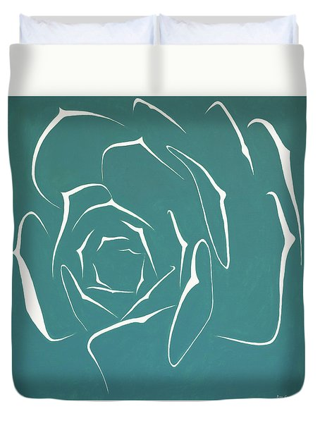 Duvet Cover featuring the painting Succulent In Turquoise by Ben Gertsberg