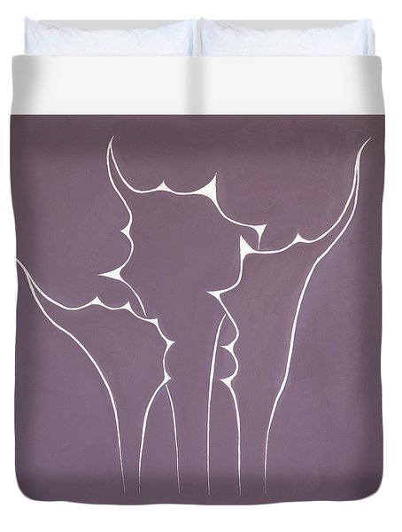 Duvet Cover featuring the painting Succulent In Violet by Ben Gertsberg
