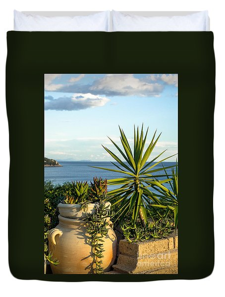 Succulents By The Sea Duvet Cover