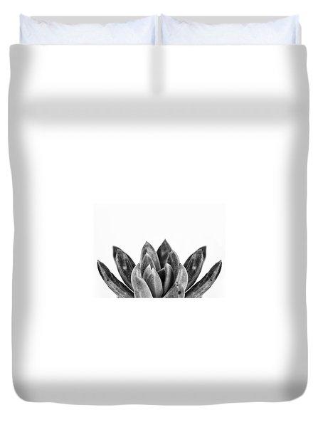 Succulents Flowers Black Duvet Cover