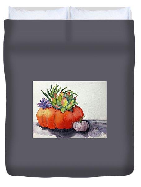 Succulents In Pumpkin Duvet Cover