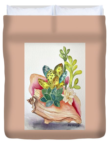 Succulents In Shell Duvet Cover