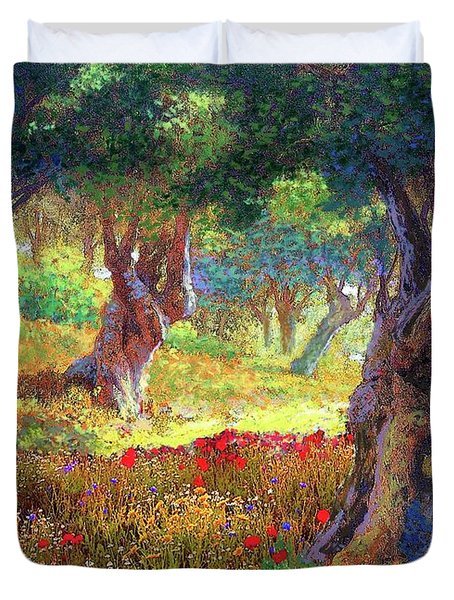 Tranquil Grove Of Poppies And Olive Trees Duvet Cover
