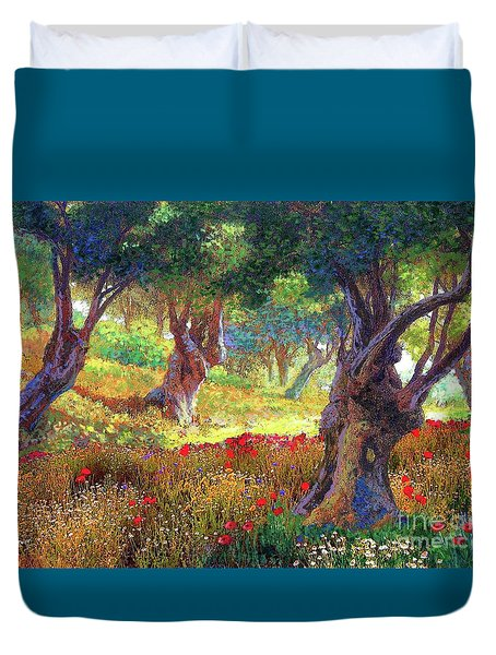 Tranquil Grove Of Poppies And Olive Trees Duvet Cover by Jane Small