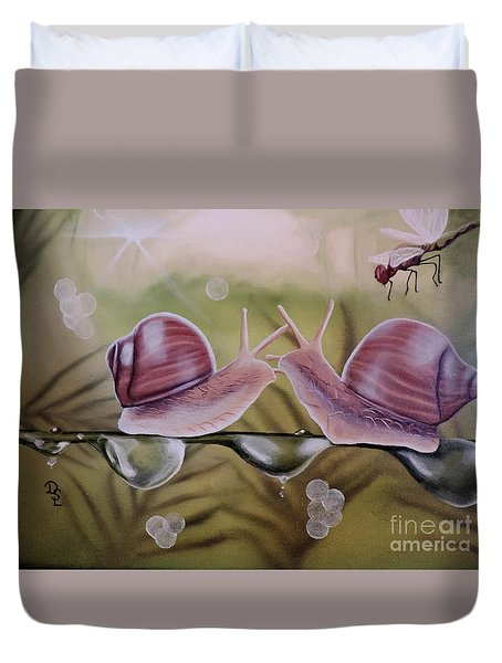 Sue And Sammy Snail Duvet Cover by Dianna Lewis