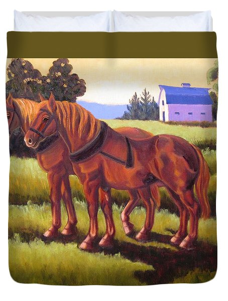 Suffolk Punch Day Is Done Duvet Cover
