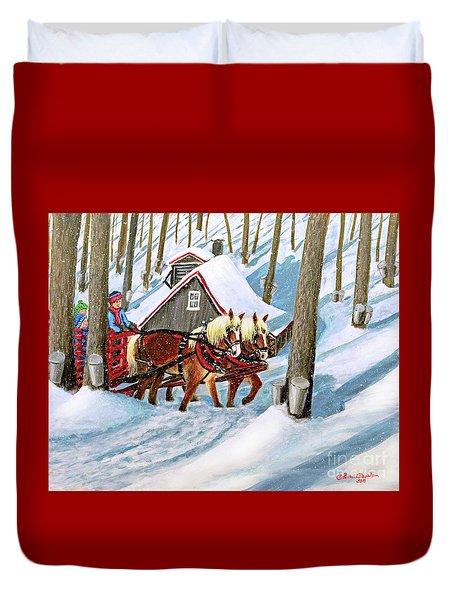 Sugar Bush Sleigh Ride Randonne En Traneau Sucre Duvet Cover by Patricia L Davidson