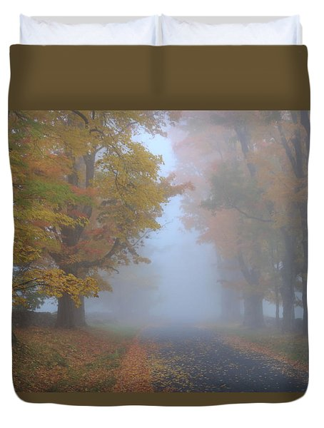 Sugar Maples On A Misty Country Road Duvet Cover by John Burk