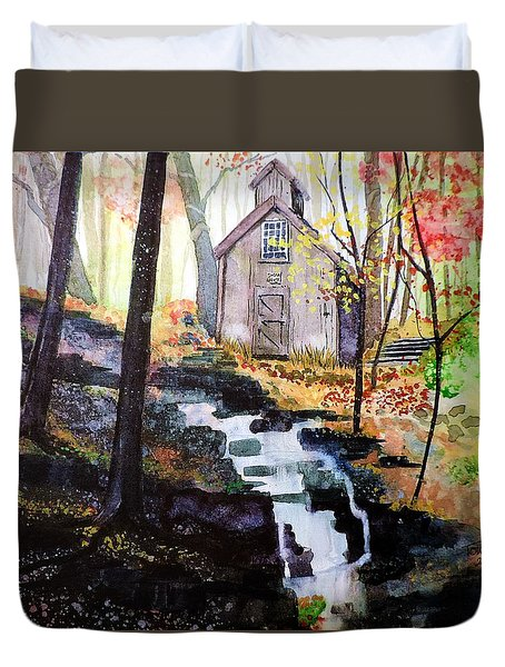 Duvet Cover featuring the painting Sugar Shack by Tom Riggs