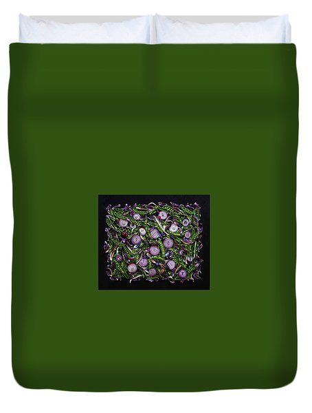 Sugar Snap Peas And Red Onion Mix Duvet Cover