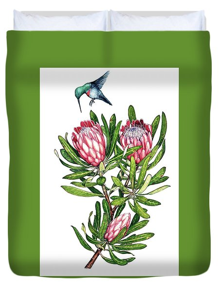 Duvet Cover featuring the painting Sugarbush And The Humming Bird by Heidi Kriel