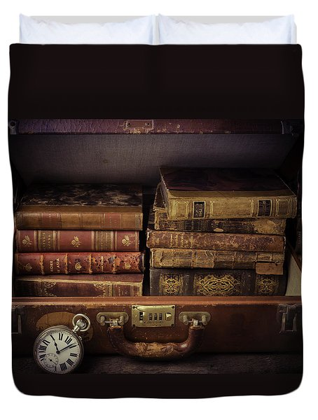 Suitcase Full Of Books Duvet Cover by Garry Gay
