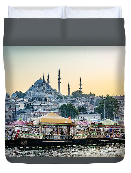 Suleymaniye Mosque At Sunset Duvet Cover