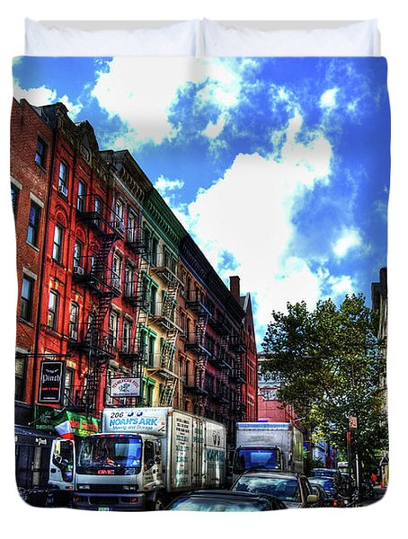 Sullivan Street In Greenwich Village Duvet Cover by Randy Aveille