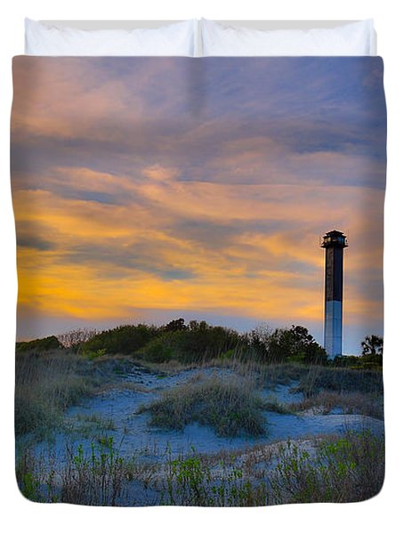 Sullivan's Island Lighthouse At Dusk - Sullivan's Island Sc Duvet Cover