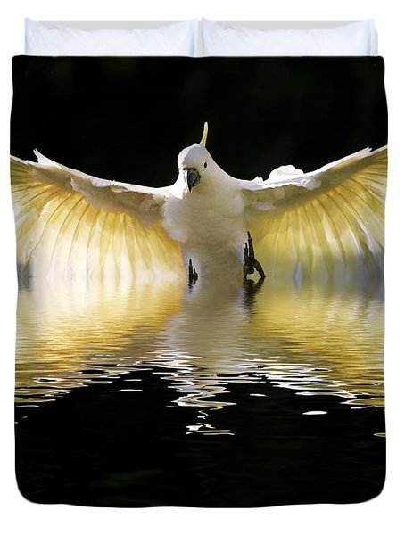 Sulphur Crested Cockatoo Rising Duvet Cover