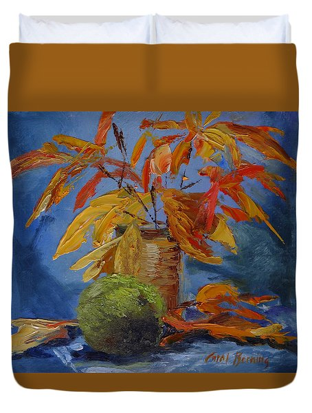 Sumac, Sassafras, And Hedge Apple Duvet Cover by Carol Berning