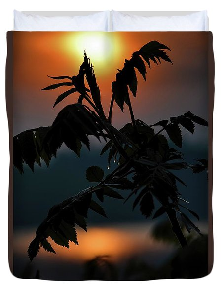 Duvet Cover featuring the photograph Sumac Sunrise Silhouette by Henry Kowalski