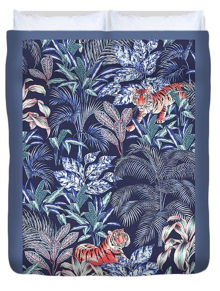 Sumatran Tiger, Blue Duvet Cover