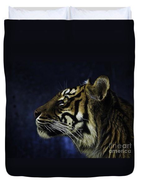 Sumatran Tiger Profile Duvet Cover by Avalon Fine Art Photography