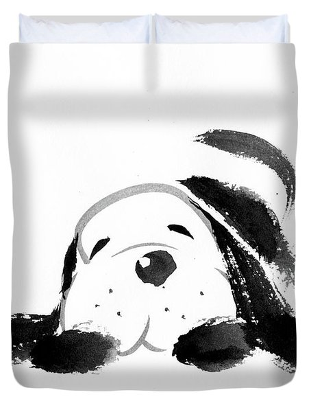 Sumi-e Dog Duvet Cover
