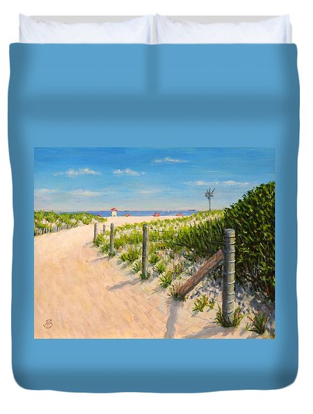 Duvet Cover featuring the painting Summer 12-28-13 by Joe Bergholm