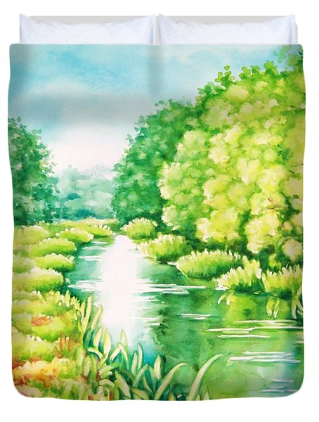 Duvet Cover featuring the painting Summer Along The Creek by Inese Poga
