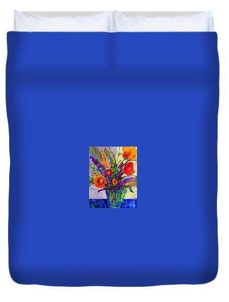 Duvet Cover featuring the painting Summer Arrangement by Priti Lathia