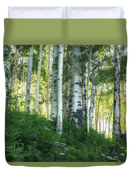 Duvet Cover featuring the photograph Summer Aspen Forest by Tim Reaves