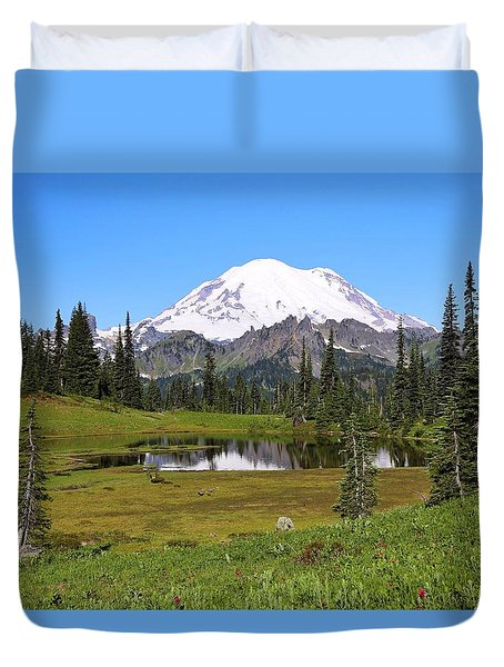 Duvet Cover featuring the photograph Summer At Lake Tipsoo 2 by Lynn Hopwood
