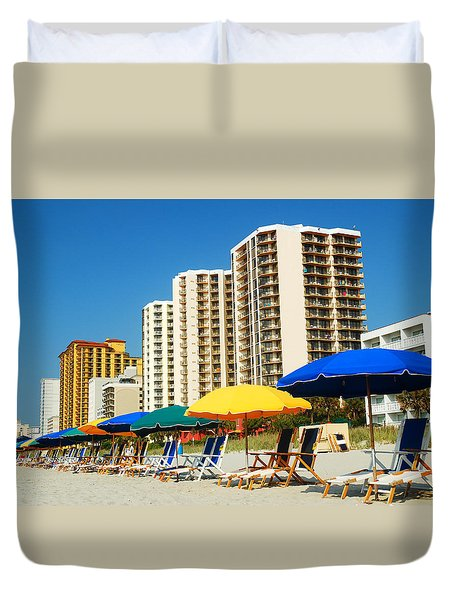 Duvet Cover featuring the photograph Summer At Myrtle Beach by James Kirkikis