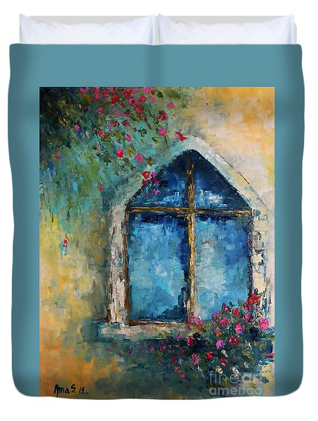 Summer At The Old Castle Duvet Cover by AmaS Art