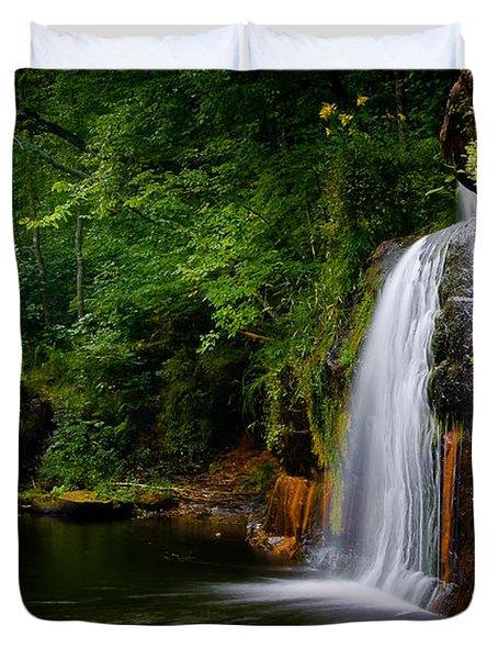Summer At Wolf Creek Falls Duvet Cover