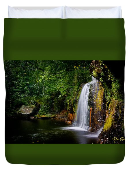 Duvet Cover featuring the photograph Summer At Wolf Creek Falls by Rikk Flohr