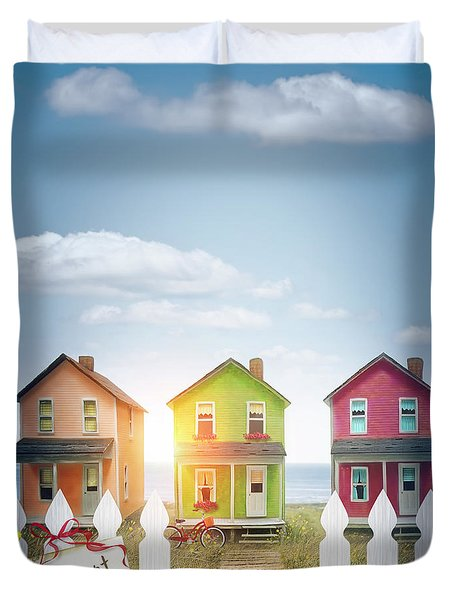 Summer Beach Huts By The Seashore Duvet Cover by Sandra Cunningham
