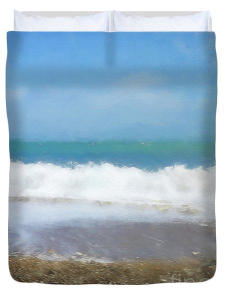 Summer Beach Swanage Bay Duvet Cover