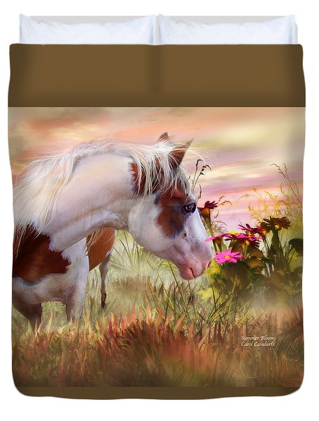 Duvet Cover featuring the mixed media Summer Blooms by Carol Cavalaris