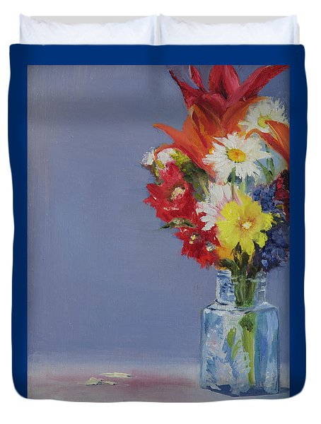 Duvet Cover featuring the painting Summer Bouquet by Jane Autry